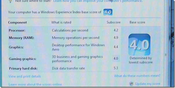 HP tx2500 Experience Index