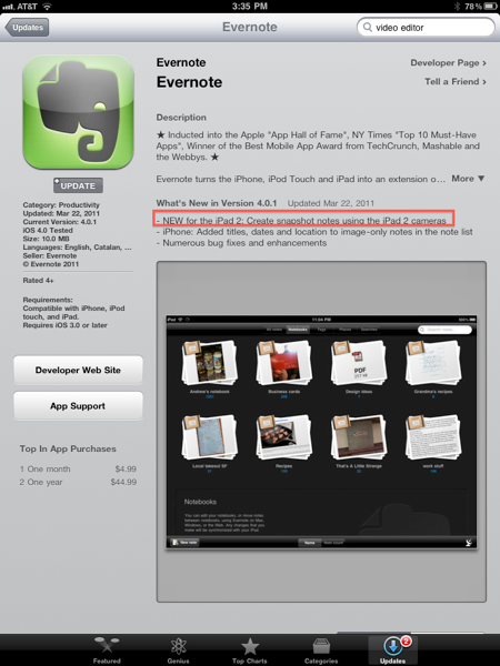 Evernote Update