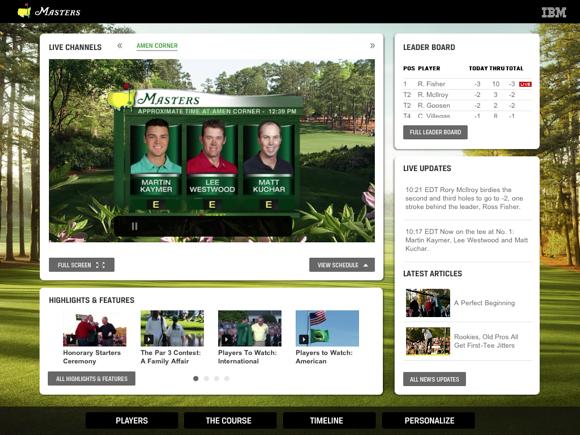 The Masters Golf Tournament app main screen