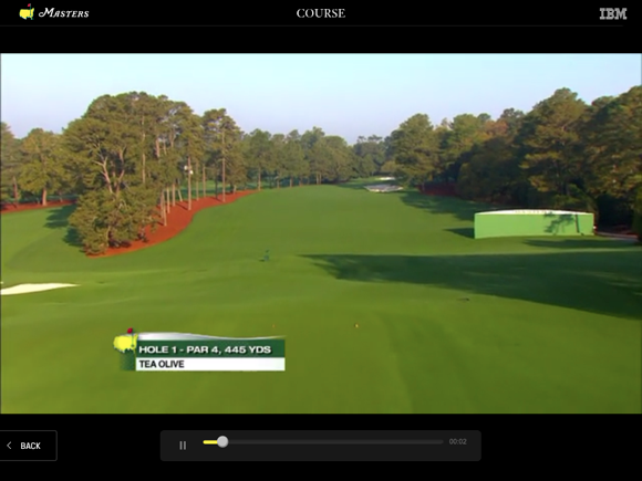 The Masters Golf Tournament app course flyover video