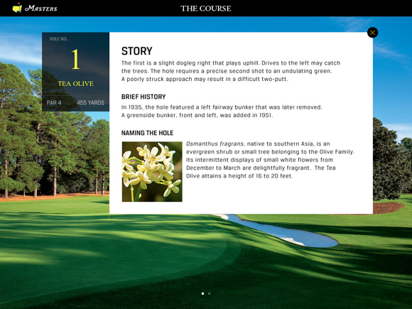 The Masters Golf Tournament app hole story screen