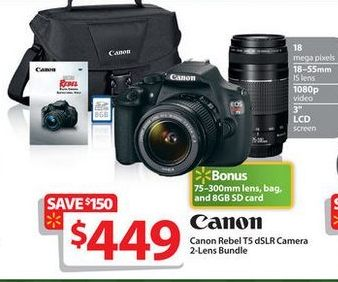 Canon Rebel T5 Bundle for $449