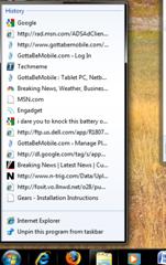 Windows 7 Taskbar Internet Explorer