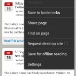 Browser and menu - Ice Cream Sandwich Android 4.0