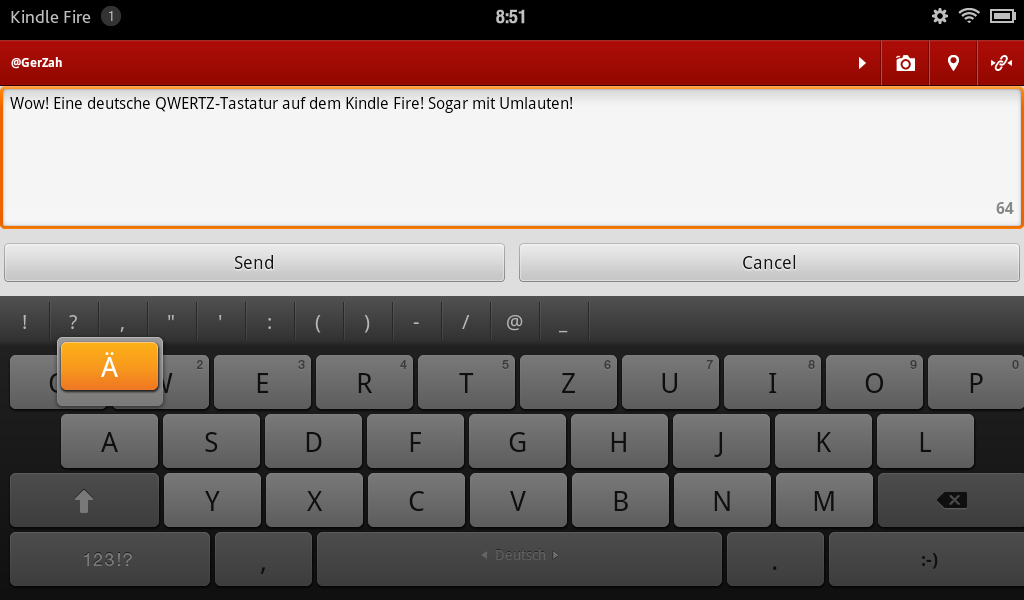Kindle Fire German Keyboard
