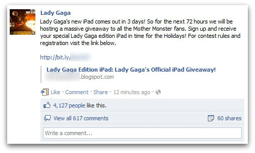 Lady Gaga iPad Scam