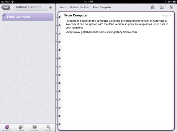 OneNote Synced with Desktop