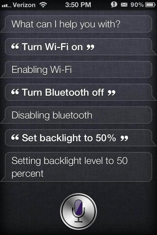 Siri Toggles Settings