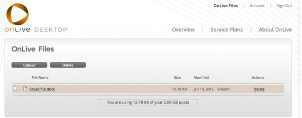 OnLive Cloud Storage Upload Page
