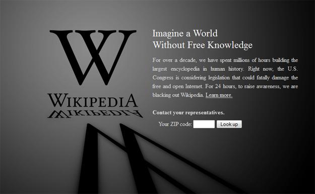 wikipedia goes dark to protest sopa