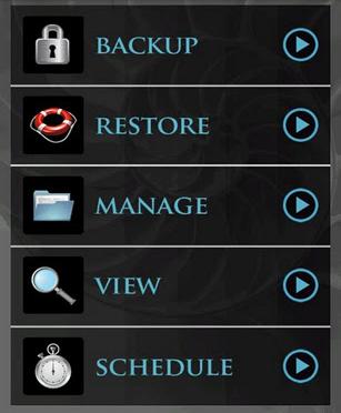 MyBackup Main Screen