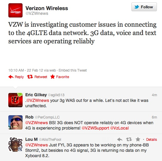 Verizon 4G LTE Outage February 2012