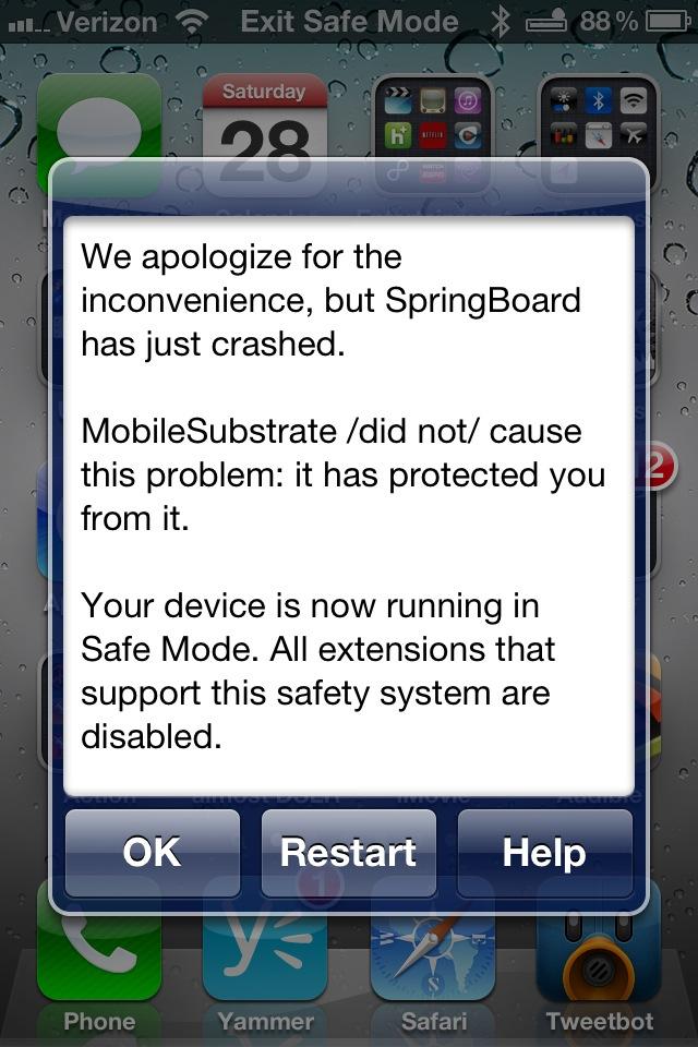 iPhone 4S Jailbreak crash
