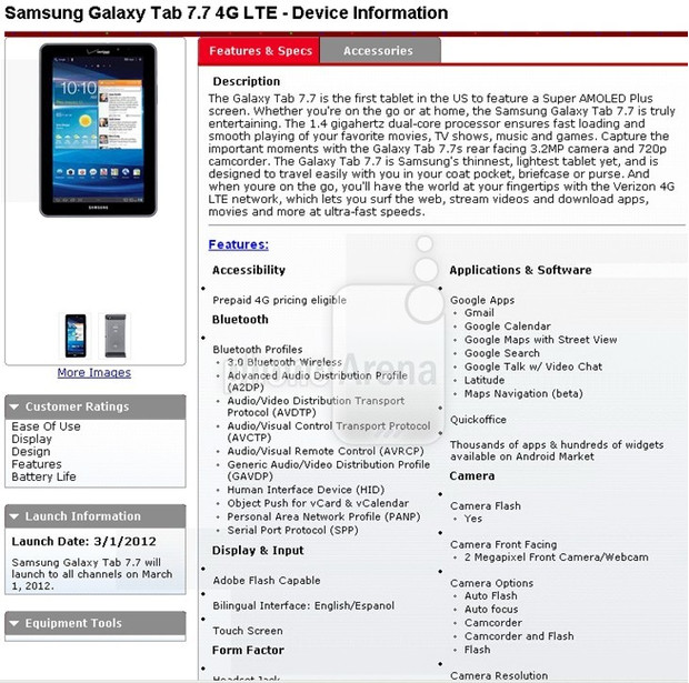 Samsung Galaxy Tab 7.7 LTE Headed to Verizon on March 1st?