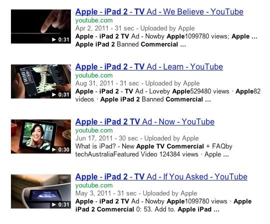 Apple iPad 2 TV ad listing