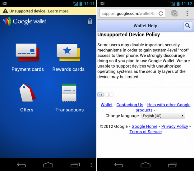 Google Wallet unsupported on rooted devices