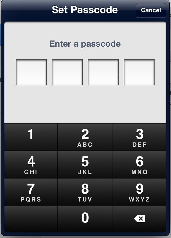 New iPad Passcode