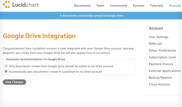 Google Drive Lucidchart Integration