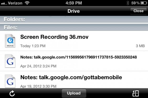 Google Drive iPhone App - downloads
