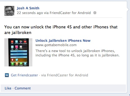 Sample facebook update posted with Friendcaster