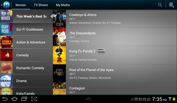 Galaxy Tab 2 Media Hub Movies
