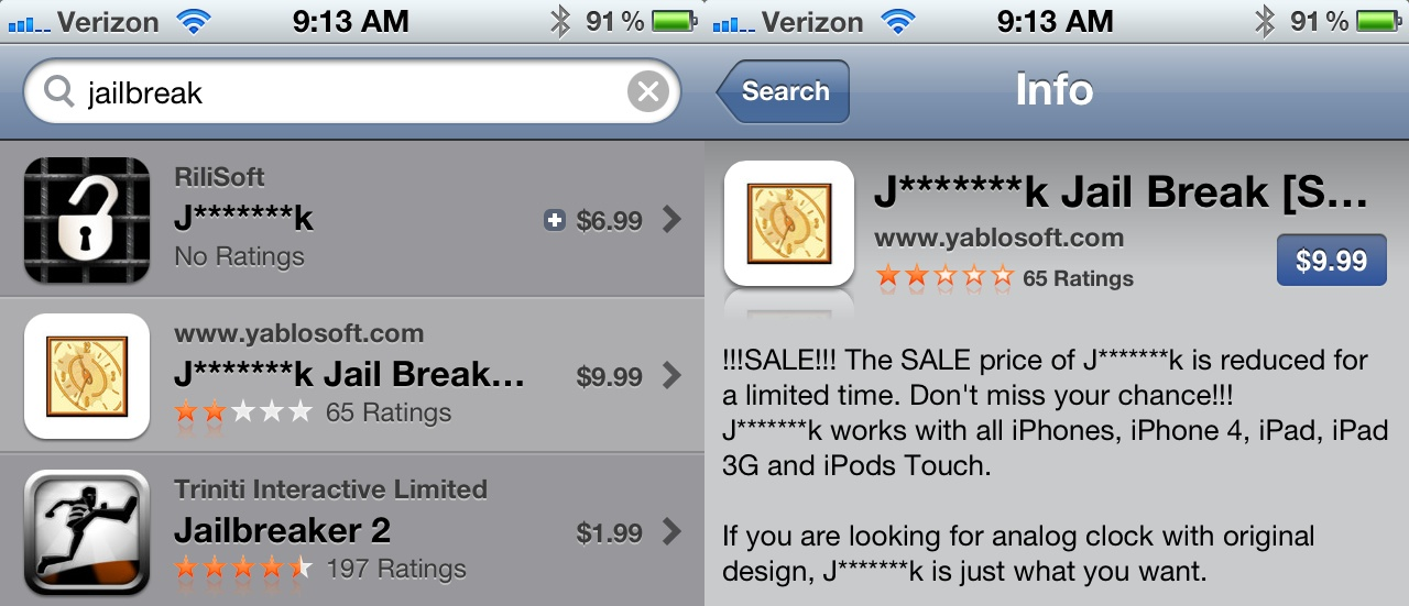Apple censors Jailbreak