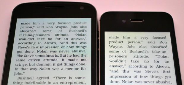 Left: Galaxy Nexus Display; Right: iPhone 4S Display
