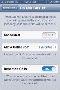 Do Not Disturb iOS 6 feature