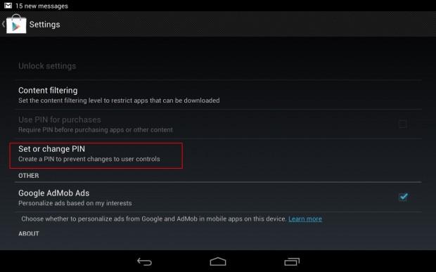 Google Play PIN step 2