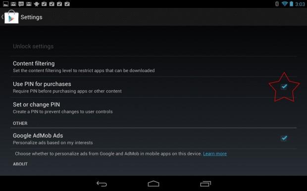 Google Play Store PIN Nexus 7
