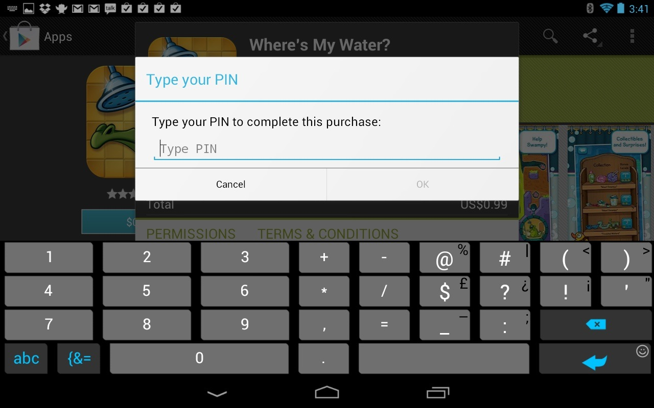 Nexus 7 Google Play PIN for purchases