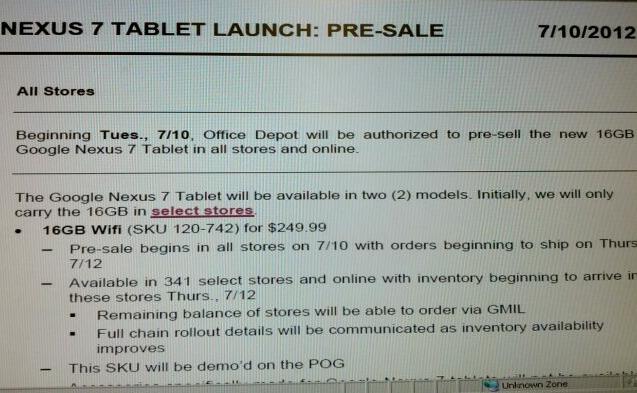 Google Nexus 7 Launch Imminent?