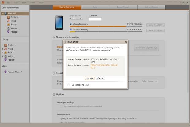 Update Samsung Galaxy Note to ICS via Kies