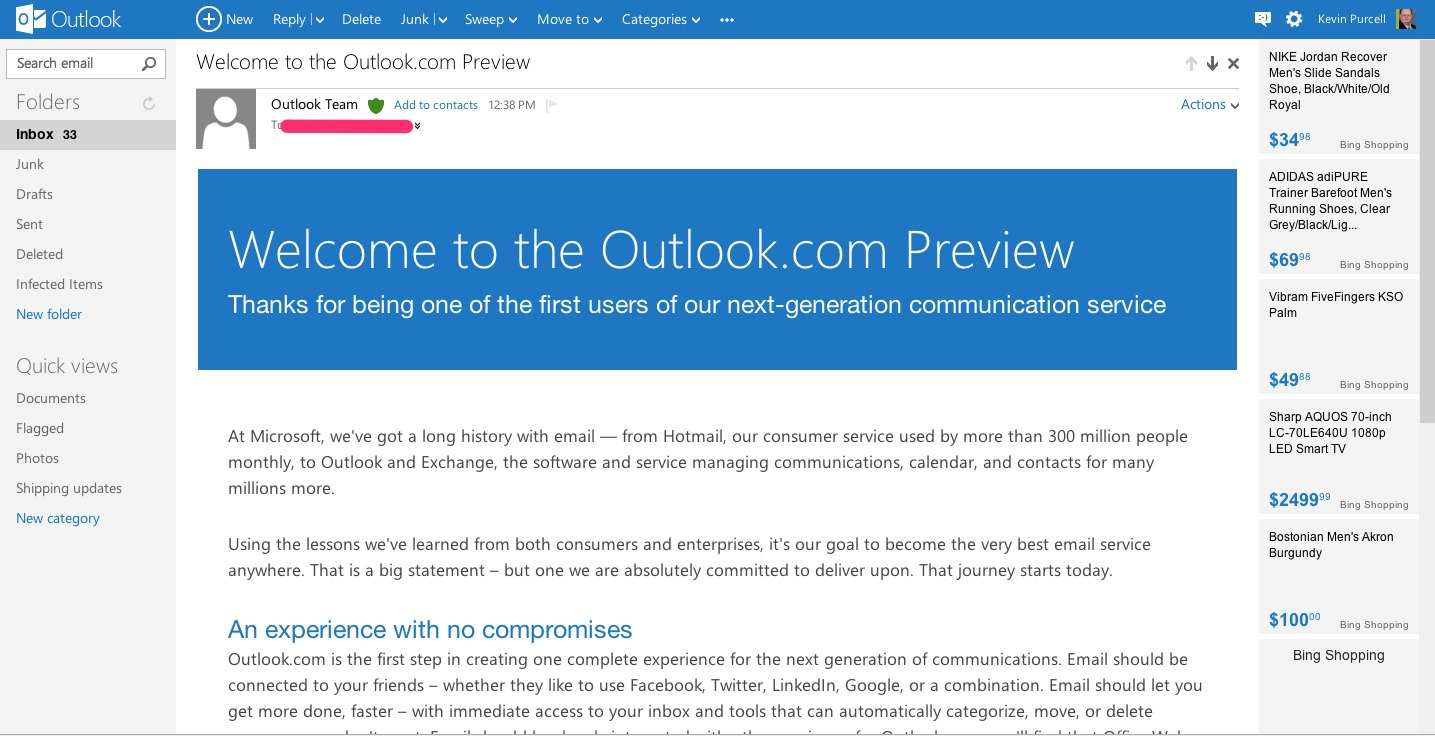 Outlook.com offers clean and simple interface