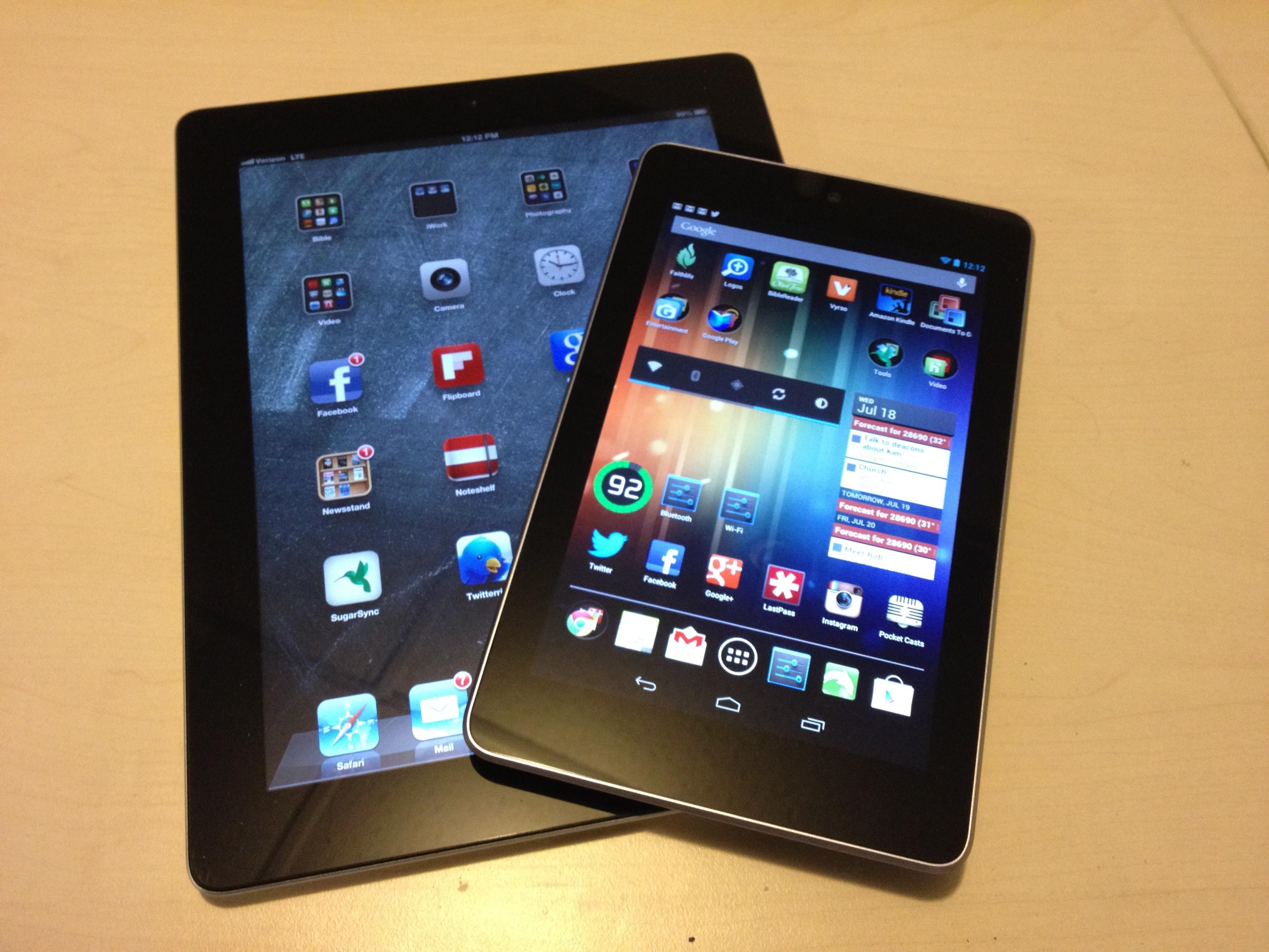 Apple iPad versus Google Nexus 7