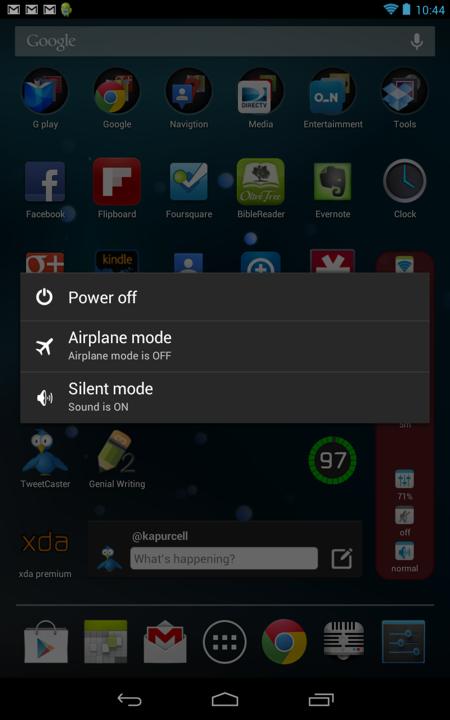 Power Off Menu in Jelly Bean on Google Nexus 7 Tablet