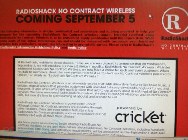 RadioShack No Contract Wireless leak
