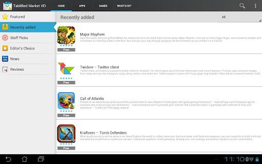 Tablified HD Nexus 7 tablet apps