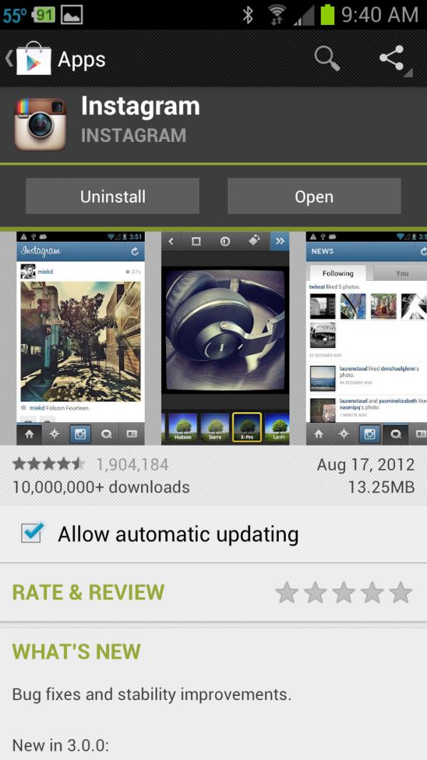 Instagram in Google Play Store