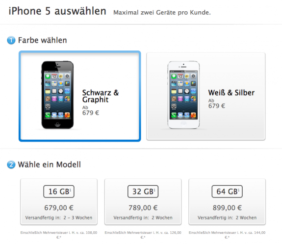 German iPhone 5 SOld Out