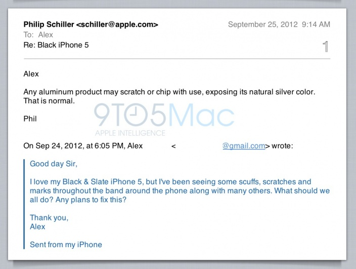 Phil Schiller iPhone 5 scratch email