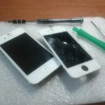 broken iPhone screen before and after