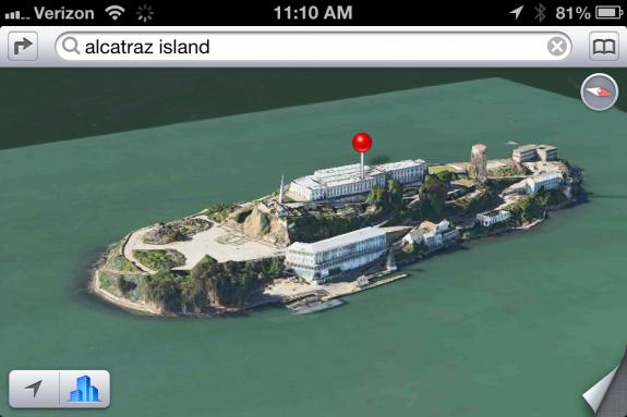 iOS 6 Flyover mode 3D