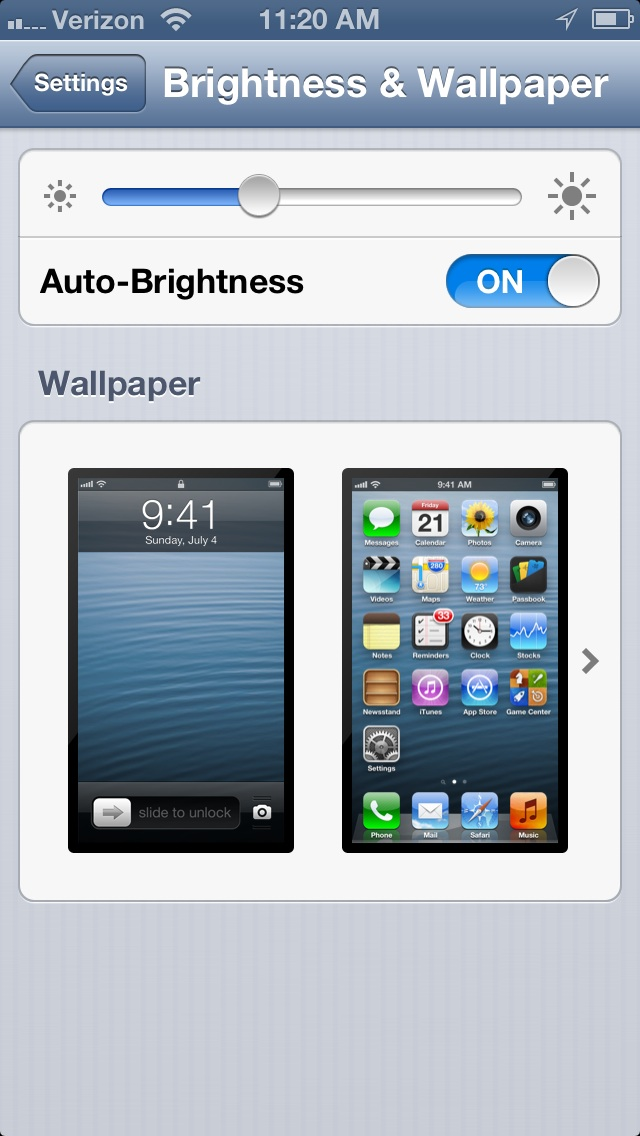 iPhone 5 brightness & WallPaper