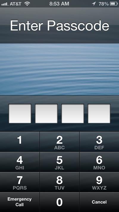 passcode on lock screen
