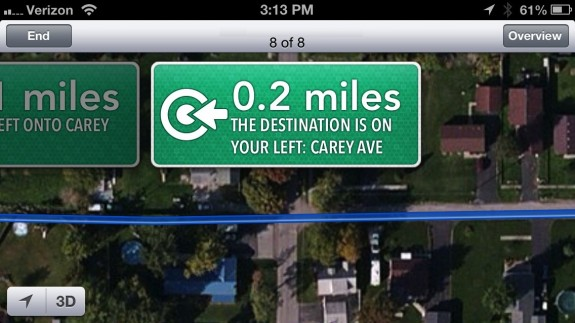 Apple Maps Error - Drive through yards