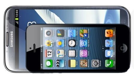 Galaxy Note 2 vs iPhone 5 Display