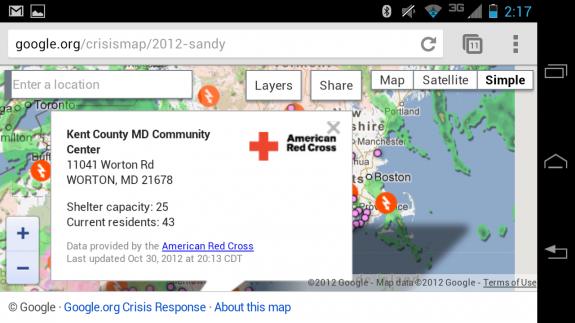 Hurricane Sandy Shelter Map