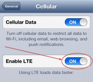 Turn off 4G LTE iPhone 5