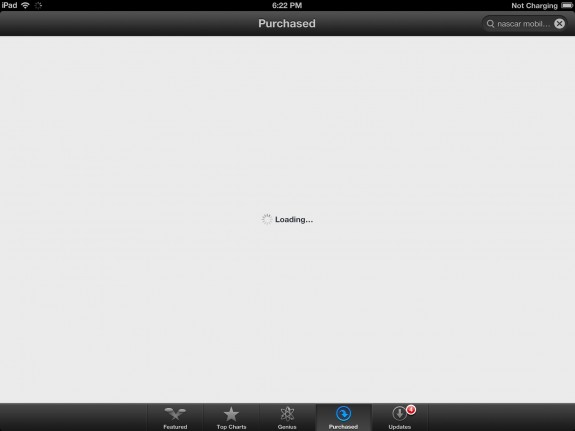 ipad app store purchased apps section fails in ios 6